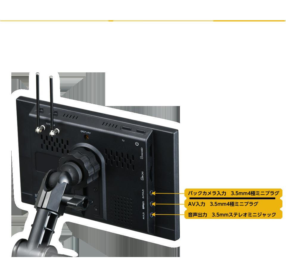 バックカメラ、DVD、スピーカー等と接続できる外部入出力端子