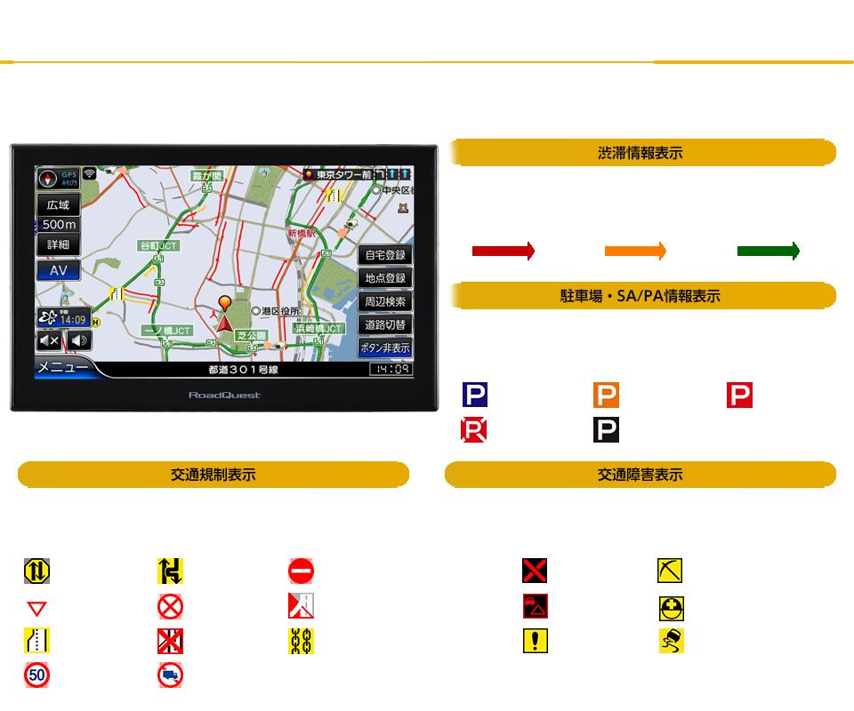 渋滞や規制箇所が一目でわかる(VICSレベル3)