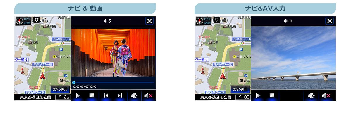ナビとAV機能を2画面分割表示