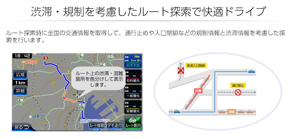 渋滞・規制を考慮したルート探索で快適ドライブ